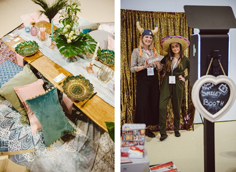 Left: VIP lounge styled by Boelle Events. Right: VIP visitors take a photo booth snap.
